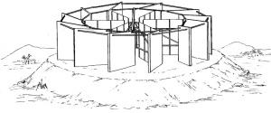 En la imagen el motor de viento patentado por Luis Calandre Lizana